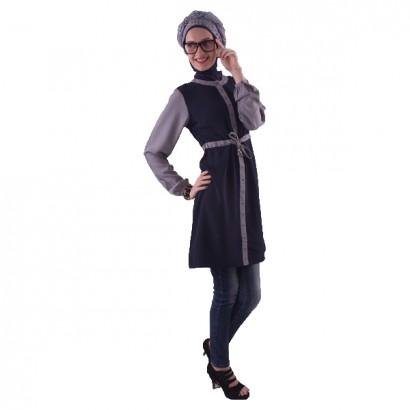 Azkasyah Daily Blouse Navy Grey