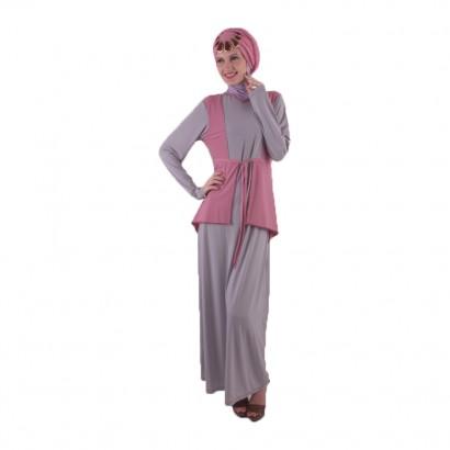 Azkasyah Daily Gamis Grey Pink