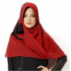 Azkasyah Hijab B-08 Red Black