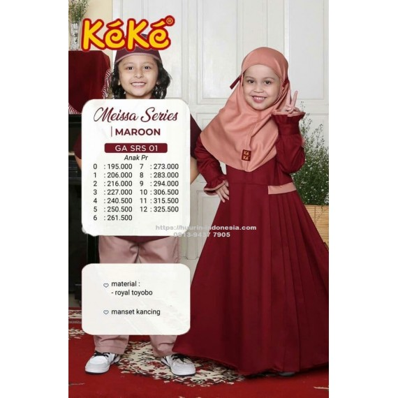 Gamis Anak Keke GA SRS 01 Maroon