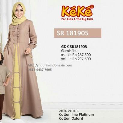 Busana Muslim Gamis Keke GDK SR 181905 Coklat