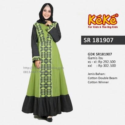 Busana Muslim Wanita Gamis Keke GDK SR 181907 Hijau