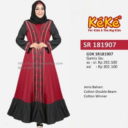 Busana Muslim Wanita Gamis Keke GDK SR 181907 Merah