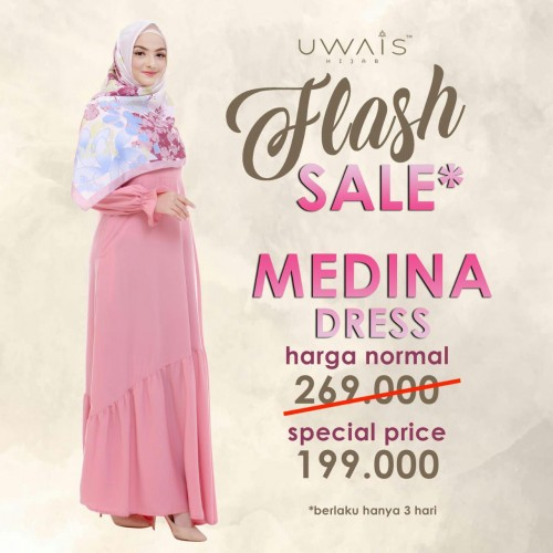 Baju Muslim Gamis Medina Dress by Uwais Hijab - Pink