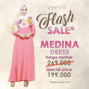 Baju Muslim Gamis Medina Dress by Uwais Hijab - Dashing Pink