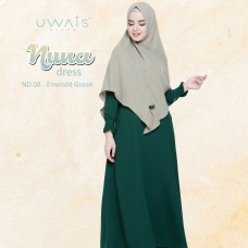Busana muslim wanita gamis Nuna Dress by Uwais Hijab Emerald Green