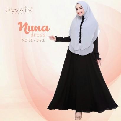 Busana muslim wanita gamis Nuna Dress by Uwais Hijab Hitam