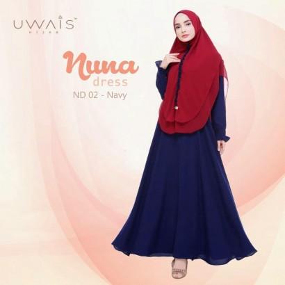 Busana muslim wanita gamis Nuna Dress by Uwais Hijab Navy