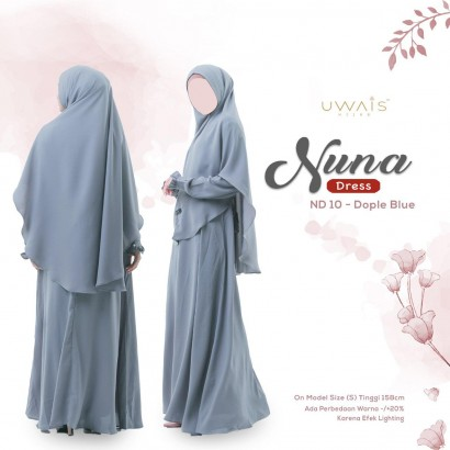 Gamis Nuna Dress by Uwais Hijab - Dople Blue