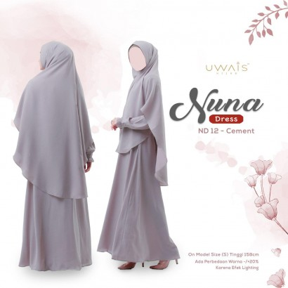 Gamis Nuna Dress by Uwais Hijab - Cement
