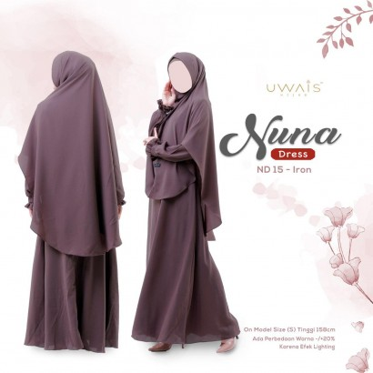 Gamis Nuna Dress by Uwais Hijab - Iron