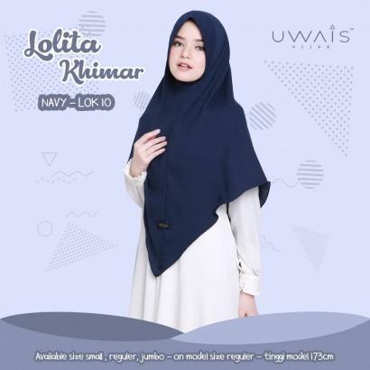 Jilbab Instan Lolita Khimar Navy by Uwais Hijab